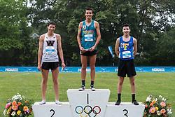 boys one mile awards podium, Fried, Norris, Greene<br /> 2019 Adrian Martinez Track Classic