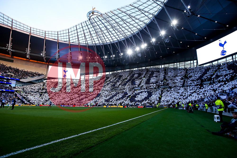 Tottenham Hotspur fans create a mosaic ahead of the Champions League semi final against Ajax - Mandatory by-line: Robbie Stephenson/JMP - 30/04/2019 - FOOTBALL - Tottenham Hotspur Stadium - London, England - Tottenham Hotspur v Ajax - UEFA Champions League Semi-Final 1st Leg