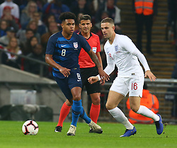 November 15, 2018 - London, United Kingdom - L-R Weston McKennie of USA  and England's Jordan Henderson.during the friendly soccer match between England and USA at the Wembley Stadium in London, England, on 15 November 2018. (Credit Image: © Action Foto Sport/NurPhoto via ZUMA Press)