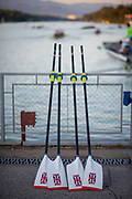 Plovdiv, Bulgaria, Saturday, 15th September 2018. FISA, World Rowing Championships, GBR M2x, Blades/Oars leaning against the Fence, © Peter SPURRIER,