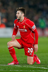 Adam Lallana of Liverpool looks frustrated after his shot is saved - Photo mandatory by-line: Rogan Thomson/JMP - 07966 386802 - 16/03/2015 - SPORT - FOOTBALL - Swansea, Wales — Liberty Stadium - Swansea City v Liverpool - Barclays Premier League.