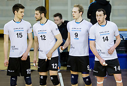 Jan Brulec of Calcit, Jernej Stavbar of Calcit, Andrej Stembergar of Calcit, Ziga Stern of Calcit during volleyball match between ACH Volley and OK Calcit Volleyball in 10th Round of Slovenian National Championship 2014/15, on March 11, 2015 in Arena Tivoli, Ljubljana, Slovenia. Photo by Vid Ponikvar / Sportida