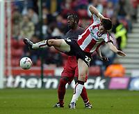 Photo: Jonathan Butler.<br />Southampton v Stoke City. Coca Cola Championship. 21/10/2006.<br />Gareth Bale of Southampton comes crashing to the ground.
