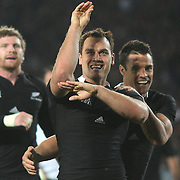 Israel Dagg, New Zealand, celebrates after scoring a try during the New Zealand V France, Pool A match during the IRB Rugby World Cup tournament. Eden Park, Auckland, New Zealand, 24th September 2011. Photo Tim Clayton.....