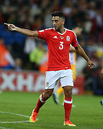 Neil Taylor of Wales makes a point. Wales v Moldova , FIFA World Cup qualifier at the Cardiff city Stadium in Cardiff on Monday 5th Sept 2016. pic by Andrew Orchard, Andrew Orchard sports photography