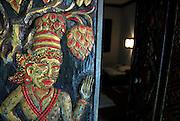 Hand carved hotel room door. Sanur, Bali, Indonesia