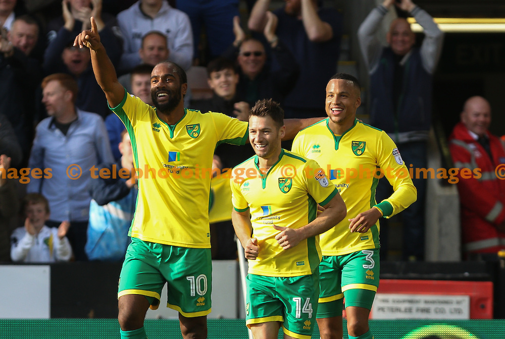 Wesley Hoolahan of Norwich City (14) celebrates scoring during the Sky Bet Championship match between Norwich City and Rotherham United at Carrow Road in Norwich. October 15, 2016.<br /> Arron Gent / Telephoto Images<br /> +44 7967 642437