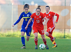 ZENICA, BOSNIA AND HERZEGOVINA - Tuesday, November 28, 2017: Wales' Rachel Rowe and Bosnia and Herzegovina's Dajana Spasojević during the FIFA Women's World Cup 2019 Qualifying Round Group 1 match between Bosnia and Herzegovina and Wales at the FF BH Football Training Centre. (Pic by David Rawcliffe/Propaganda)