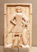 Ivory icon depicting Saint demetrios. Byzantine artwork dated 950-1000 AD. Saint Demetrios was martyred in early Christian Greece.