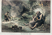The first potter according to the French illustrator Emile Bayard (1837-1891), illustration Artwork published in Primitive Man by Louis Figuier (1819-1894), Published in London by Chapman and Hall 193 Piccadilly in 1870