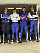 Henley. England, GB Rowing crews training on Henley Reach.<br /> Photo Peter Spurrier.<br /> 11/03/2004 - British International Rowing - Training<br /> GBR M4- left to right James Cracknell, Stephen Williams, Matt Pinsent and Josh West..   [Mandatory Credit. Peter SPURRIER/Intersport Images]