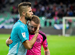 Bostjan Cesar of Slovenia, Leigh Griffiths of Scotland after the football match between National Teams of Slovenia and Scotland of Fifa 2018 World Cup European qualifiers, on October 8, 2017 in SRC Stozice, Ljubljana, Slovenia. Photo by Vid Ponikvar / Sportida