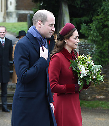 The Duke and Duchess of Cambridge arriving to attend the Christmas Day morning church service at St Mary Magdalene Church in Sandringham, Norfolk.