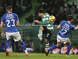 December 1, 2017 - Lisbon, Portugal - Sporting's midfielder Marcos Acuna (C) vies with Belenenses's midfielder Bruno Pereirinha (R) and Belenenses's midfielder Hassan Yebda during the Portuguese League  football match between Sporting CP and CF Belenenses at Jose Alvalade  Stadium in Lisbon on December 1, 2017. (Credit Image: © Carlos Costa/NurPhoto via ZUMA Press)