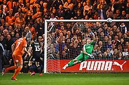 AFC Wimbledon Goalkeeper Aaron Ramsdale (35) makes a save during the EFL Sky Bet League 1 match between Luton Town and AFC Wimbledon at Kenilworth Road, Luton, England on 23 April 2019.