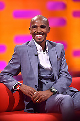 Mo Farah during filming of the Graham Norton Show at The London Studios, south London, to be aired on BBC One on Friday evening.