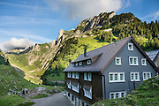 Berggasthaus Bollenwees was founded in 1903 at scenic Fälensee lake in the Alpstein range, Appenzell Alps, Switzerland, Europe. Bollenwees is a wonderful place to stay overnight in private double ensuite or dormitory rooms. A spectacular ridge walk covered in wildflower gardens starts at Hoher Kasten, reached via cable car from Brülisau, just 10 minutes bus ride from Appenzell village. For a wonderful day hike, take the lift; or arranging for overnight stay at Berggasthaus Staubern or beautiful Bollenwees allows time to ascend Hoher Kasten summit (1794 m) on foot. Appenzell Innerrhoden is Switzerland's most traditional and smallest-population canton (second smallest by area).