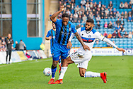 Gillingham FC forward Brandon Hanlan (7) and Rochdale defender Ethan Ebanks-Landell (6) during the EFL Sky Bet League 1 match between Gillingham and Rochdale at the MEMS Priestfield Stadium, Gillingham, England on 30 March 2019.