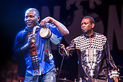 The Saturday night headliner Youssou NDOUR et le Super Etoile de Dakar (Senegal)  rocked the main stage with their African beats <br /> WOMAD 2014, festival of world music and dance, Charlton Park, Wiltshire. UK.