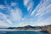 Clouds over Prince William Sound and Columbia Bay, Alaska.