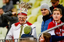 """November 15, 2018 - Gdansk, Poland, Old polish supporter with crown """"King of Poland"""" during football friendly match between Poland - Czech Republic at the Stadion Energa in Gdansk, Poland"""