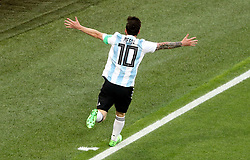 Argentina's Lionel Messi celebrates scoring his side's first goal of the game during the FIFA World Cup Group D match at Saint Petersburg Stadium.