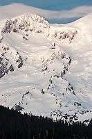 Sunset Amphitheater, The Puyallup Glacier, St Andrews Rock, and the Tahoma Glacier on Mt Rainier in winter.