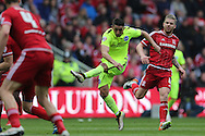 Brighton striker, Anthony Knockaert (27) shoots during the Sky Bet Championship match between Middlesbrough and Brighton and Hove Albion at the Riverside Stadium, Middlesbrough, England on 7 May 2016.