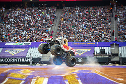 December 16, 2017 - Sao Paulo, Sao Paulo, Brazil - Zombie jumps high during a round of racing. Monster Jam was held at Corinthians Stadium, in Sao Paulo, Brazil. (Credit Image: © Paulo Lopes via ZUMA Wire)
