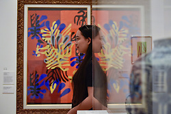 """© Licensed to London News Pictures. 01/08/2017. London, UK. A visitor is reflected against """"""""Mimosa"""", 1949-51. Preview of """"Matisse in the Studio"""", at the Royal Academy of Arts, Piccadilly, the first exhibition to consider how the personal collection of treasured objects of Henri Matisse were both subject matter and inspiration for his work.  Around 35 objects are displayed alongside 65 of Matisse's paintings, sculptures, drawings, prints and cut-outs.  The exhibition runs 5 August to 12 November 2017.  Photo credit : Stephen Chung/LNP"""