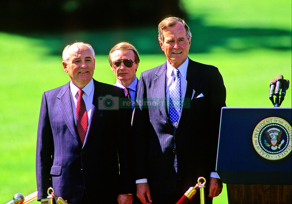 United States President George H.W. Bush, right, hosts President Mikhail Gorbachev of the Union of Soviet Socialist Republics, left, during a state arrival ceremony on the South Lawn of the White House in Washington, DC on Thursday, May 31, 1990. It was the start of three days of talks between the two leaders. Photo by Ron Sachs / CNP /ABACAPRESS.COM