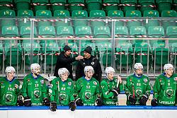 Matic Kralj, assistant coach of HK Olimpija and Raimo Summanen, head coach of HK Olimpija during Ice hockey match between HK SZ Olimpija and SHC Fassa Falcons in Round #20 of Alps Hockey League 2020/21, on February 16, 2021 in Hala Tivoli, Ljubljana, Slovenia. Photo by Vid Ponikvar / Sportida