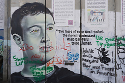 Graffiti depicting Mark Zuckerberg on the wall of separation in Bethlehem. From a series of travel photos taken in Jerusalem and nearby areas. Photo date: Wednesday, August 1, 2018. Photo credit should read: Richard Gray/EMPICS
