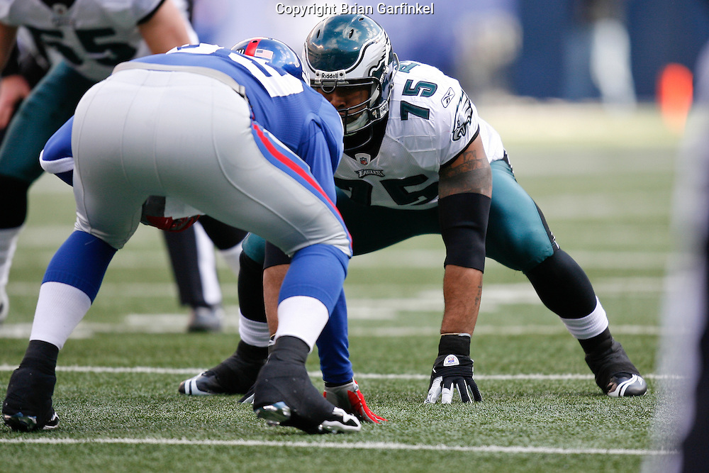 11 Jan 2009: Philadelphia Eagles defensive end Juqua Parker #75 lines up before a play during the game against the New York Giants on January 11th, 2009.  The  Eagles won 23-11 at Giants Stadium in East Rutherford, New Jersey.