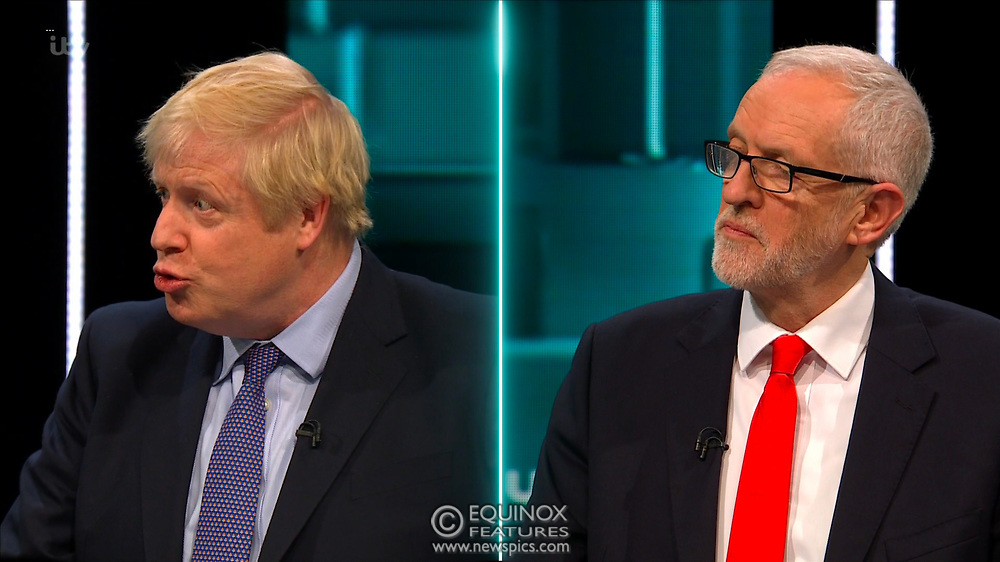 Broadcast TV, United Kingdom - 19 November 2019<br /> Labour leader Jeremy Corbyn and Prime Minister Boris Johnson debate live on ITV tonight as part of the 2019 general election campaign.<br /> (supplied by: Supplied by: EQUINOXFEATURES.COM)<br /> Picture Data:<br /> Contact: Equinox Features<br /> Date Taken: 20191119<br /> Time Taken: 202242<br /> www.newspics.com