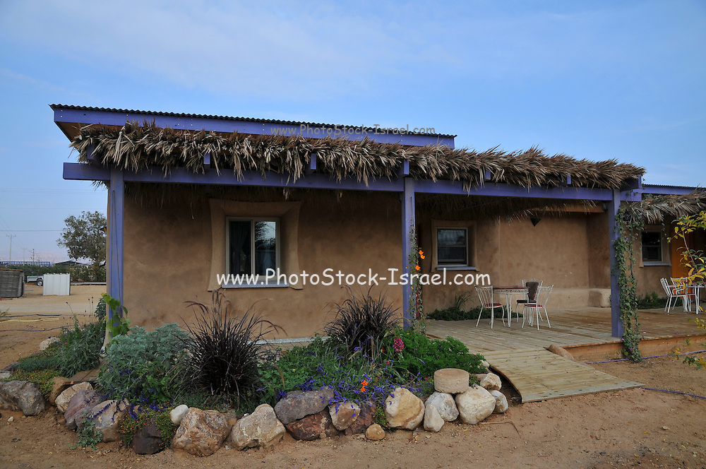 Israel, Aravah, An ecological house in Moshav Paran. All construction material are environmental friendly such as wood and mud. waste water and garbage are reused for irrigation and compost