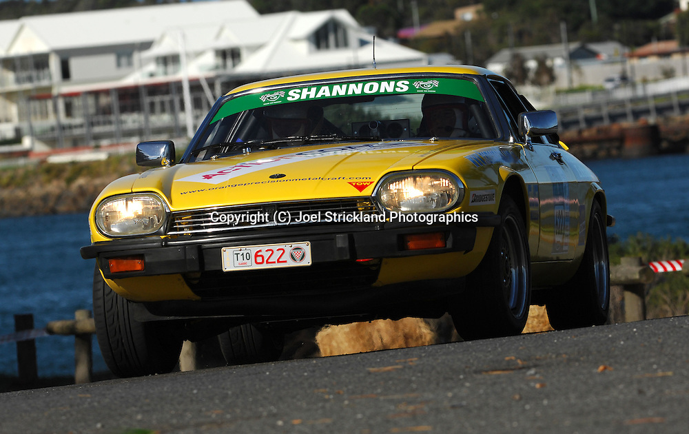 #622 - Mark Thompson & Mark Hammond - 1980 Jaguar XJS.Prologue.George Town.Targa Tasmania 2010.27th of April 2010.(C) Joel Strickland Photographics.Use information: This image is intended for Editorial use only (e.g. news or commentary, print or electronic). Any commercial or promotional use requires additional clearance.