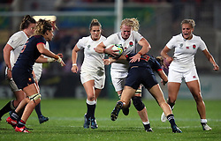 England Women's Tamara Taylor is tackled by France Women's Caroline Ladagnous during the 2017 Women's World Cup, Semi Final match at the Kingspan Stadium, Belfast.