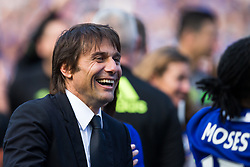 Chelsea manager Antonio Conte is all smiles as Chelsea celebrate winning the 2016/17 Premier League - Rogan Thomson/JMP - 21/05/2017 - FOOTBALL - Stamford Bridge - London, England - Chelsea v Sunderland - Premier League..