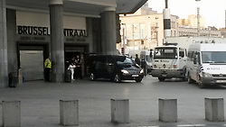 June 21, 2017 - Brussels, BELGIUM - The body of the perpetrator is evacuated from the scene in the morning of  Wednesday 21 June 2017, at the 'Brussels Central - Bruxelles-Central - Brussel-Centraal' train station in the city center of Brussels. Yesterday a small explosion occurred in the station. The suspected terrorist was shot dead on the scene, according to the first information he is the only victim of the incident. ..BELGA PHOTO ANTONY GEVAERT (Credit Image: © Antony Gevaert/Belga via ZUMA Press)