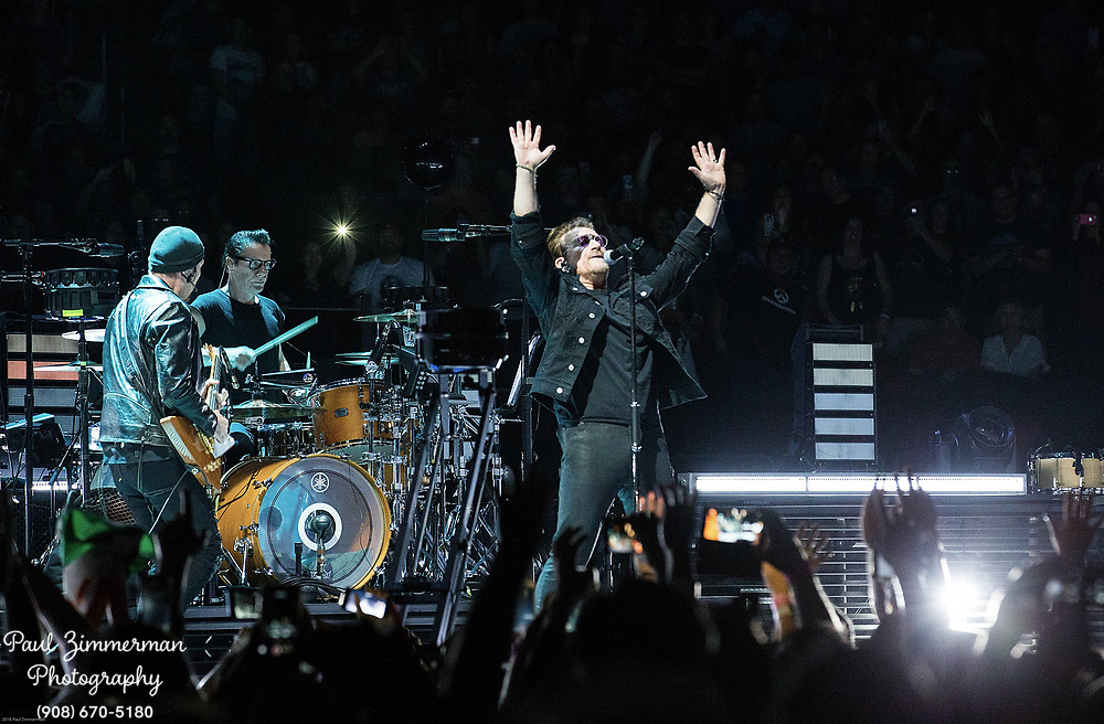 NEWARK, NJ - JUNE 29:  (L to R) The Edge, Larry Mullen, Jr., Bono, and Adam Clayton of U2 perform onstage during the eXPERIENCE + iNNOCENCE TOUR at Prudential Center on June 29, 2018 in Newark, New Jersey.  (Photo by Paul Zimmerman/Getty Images) *** Local Caption *** The Edge; Larry Mullen; Jr.; Bono; Adam Clayton