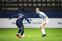 Sandy Baltimore of France and Kaja Erzen of Slovenia during football match between Slovenia and France in 2nd round of Women's world cup 2023 Qualifying round on 21 of September, 2021 in Mestni stadion Fazanerija, Murska Sobota, Slovenia. Photo by Blaž Weindorfer / Sportida