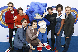 Haruki Satomi, James Marsden, Ben Schwartz, Jim Carrey, Tika Sumpter, Jeff Fowler and Toby Ascher at the Los Angeles premiere of 'Sonic the Hedgehog' held at Paramount Theatre in Los Angeles, USA on January 25, 2020.