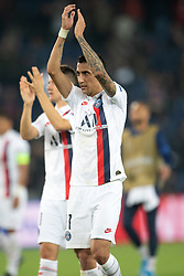 Angel Di Maria of PSG celebrates the victory following the UEFA Champions League Raphael Varane Paris Saint Germain and Real Madrid at Parc des Princes on September 18, 2019 in Paris, France<br /> Photo by David Niviere/ABACAPRESS.COM