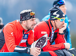 19.02.2020, Suedtirol Arena, Antholz, ITA, IBU Weltmeisterschaften Biathlon, Herren, 20 km Einzel, im Bild v.l. Ricco Gross Cheftrainer Biathlon Trainingsgruppe I (AUT), Ludwig Gredler Trainer Biathlon Trainingsgruppe I (AUT) // f.l. Ricco Groß head coach biathlon training group I of Austria and Ludwig Gredler Coach biathlon training group I of Austria during men's 20 km Individual of IBU Biathlon World Championships 2020 at the Suedtirol Arena in Antholz, Italy on 2020/02/19. EXPA Pictures © 2020, PhotoCredit: EXPA/ Stefan Adelsberger
