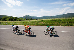 Artem NYCH of GAZPROM – RUSVELO, Markus HOELGAARD of UNO - X PRO CYCLING TEAM, Jonathan LASTRA MARTINEZ of CAJA RURAL-SEGUROS RGA during the 4th Stage of 27th Tour of Slovenia 2021 cycling race between Ajdovscina and Nova Gorica (164,1 km), on June 12, 2021 in Slovenia. Photo by Vid Ponikvar / Sportida