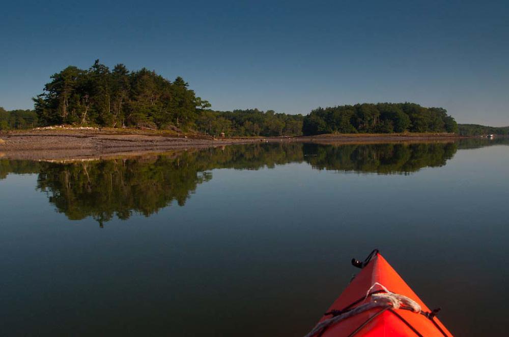 Kayaking Up the Bagaduce River, Castine, Maine, US