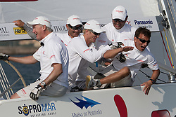 Peter Gilmour and his YANMAR Racing team after winning Portimao Portugal Match Cup 2010. World Match Racing Tour. Portimao, Portugal. 27 June 2010. Photo: Gareth Cooke/Subzero Images
