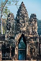 giant face south gate bridge Angkor Thom Cambodia