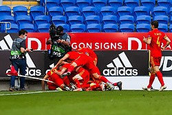 Neco Williams of Wales celebrates scoring an injury time winning goal to give his side a 1-0 victory - Rogan/JMP - 06/09/2020 - FOOTBALL - Cardiff City Stadium - Cardiff, Wales - Wales v Bulgaria - UEFA Nations League Group B4.